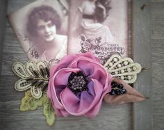 Vintage hair accessories. Decorative Applique .Dark pink flowers. by ezdessin. Explore more products on http://ezdessin.etsy.com