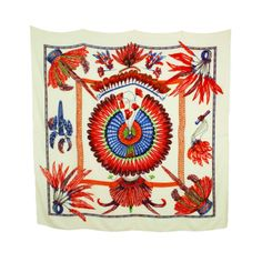 """Hermes Ivory/Red Cashmere/Silk  """"Brazil"""" Feather Print Shawl"""