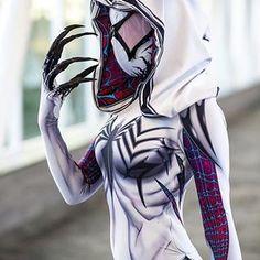 Badass Spider-Gwen and Venom Cosplay Mashup - Gwenom — GeekTyrant Amazing Cosplay, Best Cosplay, Cosplay Style, Polaris Marvel, Spider Gwen Cosplay, Marvel Dc, Super Heroine, Mode Costume, Spider Girl
