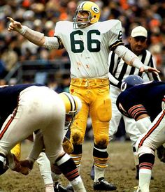 Ray Nitschke #66 (MLB) played fifteen seasons, 1958-1972.  A savage defender on defense he patrolled the middle of Lombardi's defense with speed and anger.  His number was retired in by the Packers in 1983.