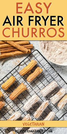 Get ready to make this quick & easy Air Fryer Churro Recipe. Golden homemade churros are healthier to make than the traditional deep fried ones. This fried dough Mexican dessert has a crispy outside, light inside and rolled in cinnamon and sugar. Great snack, dessert or breakfast. Learn how to make a churro in the Air Fryer with just 6 pantry staple ingredients and water. Click thru to get the best Air Fryer Churro Recipe. #airfryerrecipe #airfryer #airfryerchurro #churrorecipe #dessertrecipe Air Fryer Recipes Dessert, Air Fryer Recipes Vegan, Air Fryer Healthy, Potluck Recipes, Cooking Recipes, Family Recipes, Summer Recipes, Churro Recipe, Vegan Mexican Recipes