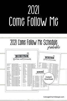 2021 Come Follow Me Printable Schedule. Three sizes included in download. Schedule Printable, Printables, Doctrine And Covenants, The Covenant, Follow Me, As You Like, Young Women, Jesus Christ, Saints