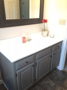 diy custom gray painted bathroom vanity from a builder grade