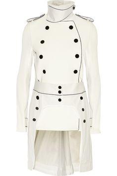 Sacai|Twill-paneled cotton and silk-blend ribbed-knit jacket |NET-A-PORTER.COM