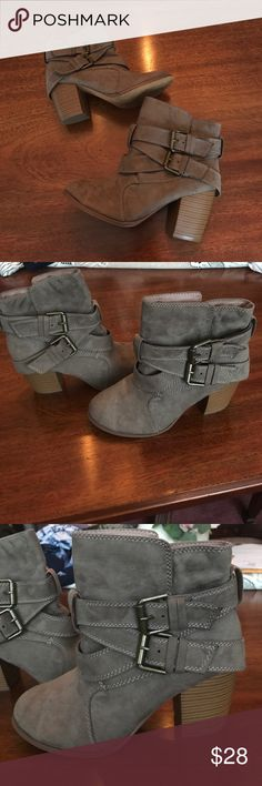 Taupe colored AE booties Taupe colored American eagle booties with buckles. Worn twice. Perfect for all seasons American Eagle Outfitters Shoes Ankle Boots & Booties