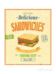 Vintage Sandwiches Poster Poster by avean at AllPosters.com