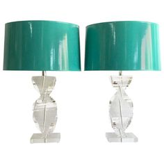 Pair of 70's Karl Springer Style Lucite Spiral Lamps with Shades 1