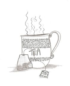 Come, and color the Tea bag, and tea cup. Colouring Pages, Coloring Books, Afternoon Tea Recipes, Illustrations, Bag Illustration, Cuppa Tea, Tea Art, My Cup Of Tea, I Love Coffee