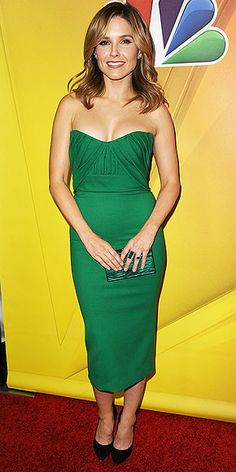 Simply chic: Sophia Bush in a strapless green dress (with snake earrings!)