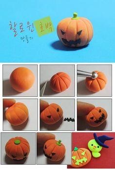 DIY Polymer Clay or Fimo Halloween Pumpkin Tutorial