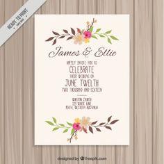 Hand drawn floral wedding card