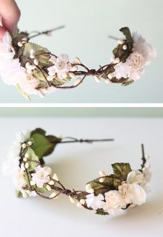Wedding flower crown Bridal hair piece Wired head by whichgoose