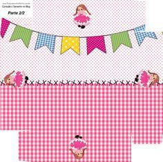 Convite Caixa Fundo Kit Festa Junina Rosa