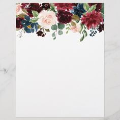 Shop Burgundy Blue Watercolor Flowers Border created by JunkyDotCom. Navy Blue Flowers, Burgundy Flowers, Free Watercolor Flowers, Floral Watercolor, Burgundy Wedding Invitations, Invitation Background, Flower Video, Hand Drawn Flowers, Floral Border