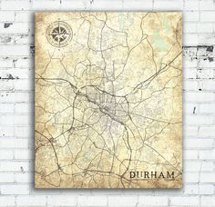 Durham North Carolina Vintage map Durham City Vintage Antique map wall Art Print City poster USA Vintage retro map United States of America