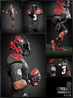 NC State reveals some dope black uniforms. Football Poses, Football Outfits, Football Pictures, Football Jerseys, Football Helmets, College Football Uniforms, College Football Games, Sports Uniforms, Sports Teams