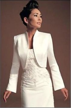 Opening Front White Ivory Satin Wedding Jacket Wedding Bridal Long Sleeves Bolero Shrug Coats