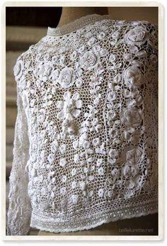 アイリッシュクロッシェレースボレロ - 【Belle Lurette】ヨーロッパ フランス アンティークレース リネン服の通販