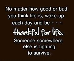 no matter how good or bad life is, wake up each day and be thankful for life. someone somewhere is fighting to survive.