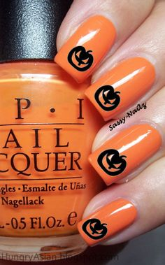 Halloween Black Pumpkins Nail Art Transfers water Decals not stickers on Etsy, $3.00