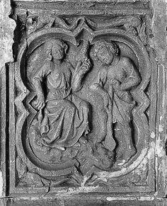 """""""Quand Adam bêchait et qu'Ève filait...""""   Stèle de la cathédrale de Rouen (XIIIe s).  Moulage XIIIe siècle."""