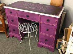 #junkgypsypaint @junkgypsypaintdecor @lostandfoundabilenetx #abilenetx #abilenetexas #rustandrosesabilenetx #acu #hsu #wiley #purple #purple #furniture #abilenetx #hardinsimmons #abilenechristianuniversity Purple Furniture, Abilene Texas, Diffuser Blends, Furniture Projects, Corner Desk, Rust, Crafty, Interior, Diy