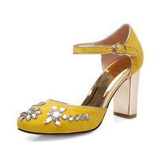 Tienda Online CHENSIR9 Azul Amarillo Negro Correa de Cuero Genuino con la  Hebilla Del Rhinestone Cuadrado tacones altos mary jane shoes 34-40 KD01 un 4223d46feeb9