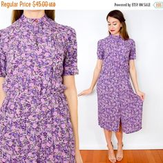 SummerS SALE 80s Purple Floral Print Dress | Lavender Print Day Dress Small by charlialana from Charli Alana Vintage. Find it now at http://ift.tt/2bBpaQ2!
