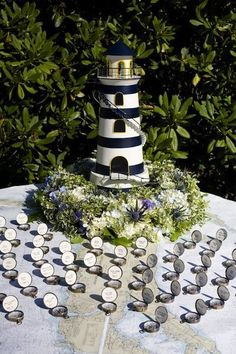 Marvelous Nautical Wedding, Bar Bat Mitzvah Party Theme Ideas   Lighthouse Escort  Table With Compass Place Cards