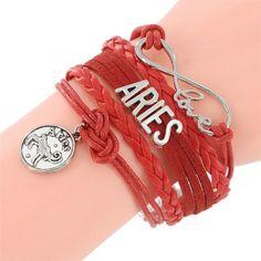 Infinity Love Sign Bracelet 12 constellations Bracelet Punk Leather Zodiac Bracelet Charm Jewelry
