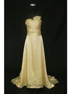 A-line Sweetheart Court Train Elastic Satin Evening Dress SAL0032