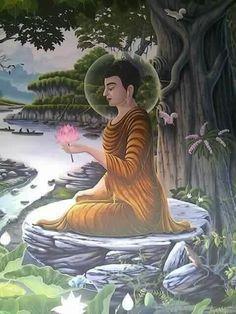 Buddha Painting, Buddha Art, Nikola Tesla, Buddhist Meditation Techniques, Composition Painting, Bodhi Tree, Religious Paintings, Ganesha Art, Gautama Buddha