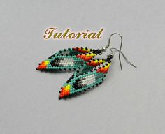 PDF Beaded Earrings Tutorial, Russian Leaf Native American Earrings Peyote Pattern, Beadwork Tutorial, Seed Bead Earrings, Beading pattern.  This tutorial will show you step by step how to make this earrings. This is a very detailed tutorial, it contains 23 pics with descriptions to them and takes 16 pages. Tutorial in English.  Level - intermediate.  Material you need: Miyuki Delica 11/0 DB 729 - 1gr b1 Miyuki Delica 11/0 DB 10- 1gr b2 Miyuki Delica 11/0 DB 200 - 1gr b3 Miyuki...