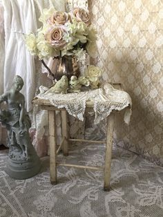 Shabby Chippy White Table,Small chippy distressed farmhouse table, Wooden Accent table, primitive table,potting table,SCT