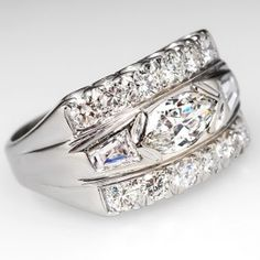 Marquise Diamond Band Ring in 14K White Gold