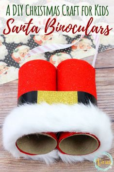 These DIY Santa binoculars made from recycled toilet paper rolls are a great Christmas craft for kids to make. kids christmas crafts easy DIY Santa Binoculars: A Kid's Christmas Craft Diy Crafts To Do, Do It Yourself Crafts, Upcycled Crafts, Creative Crafts, Diy Crafts For Kids, Easy Crafts, Paper Crafts, Kids Diy, Summer Crafts