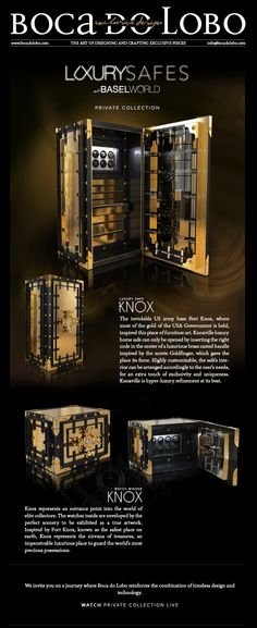luxury safe, gold, safe box, limited edition, private collection, jewelry boxes, watch winder, boca do lobo, knox #highendfurniture #homefurniture #luxuryfurniture #contemporaryfurniture #designerfurniture
