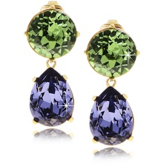 KENNETH JAY LANE Lime And Purple Crystal Earrings ($96) ❤ liked on Polyvore