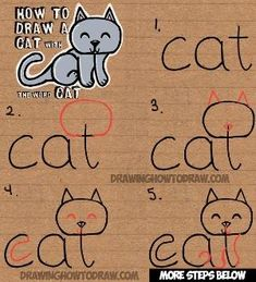 Learn how to draw a cute cartoon kitty cat from the word cat. This another tutorial in our fun cartoon words series. Have fun! drawing for kids How to Draw a Cat from the word Cat Easy Drawing Tutorial for Kids - How to Draw Step by Step Drawing Tutorials Easy Drawing Tutorial, Drawing Tutorials For Kids, Drawing Ideas, Drawing Tips, Drawing Art, Easy Drawing For Kids, Easy Cat Drawing, Sketching For Kids, Doodles