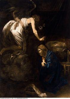 Caravaggio » Annunciation Baroque Painting, Baroque Art, Italian Baroque, Italian Painters, Italian Artist, Catholic Art, Religious Art, The Annunciation Painting, Michelangelo Caravaggio