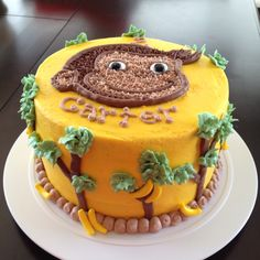 Curious George Cake - I like the palm trees on the side Fancy Cakes, Cute Cakes, Yummy Cakes, Curious George Cakes, Curious George Party, Beautiful Cakes, Amazing Cakes, Thomas Cakes, Health Desserts