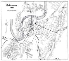 circa 1863 map of Chattanooga around me Pinterest