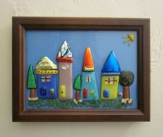 Fused Glass Whimsical Little Houses Framed | eBay