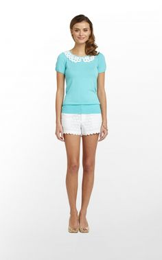 Lilly Pulitzer Nia Sweater, Shorely Blue--- would look nice with a white skirt.