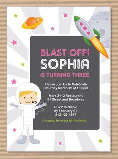 Astronaut Rocket Space Theme Girl Birthday Invitation DIY Printable - PDF Digital File