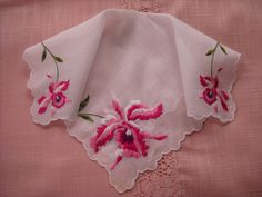 Vintage Handkerchief Ladies Hanky Pink Floral NOS without tag by LeapofFaithCraftVin on Etsy