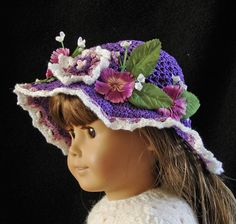 """Crochet  American Girl 18"""" Doll  Hat in Purple with Flowers and Wide Brim. Inspiration."""