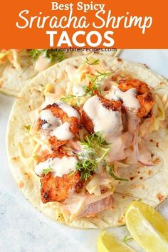 30 minutes · Serves 6 · Taco Tuesdays are more fun with these amazing sriracha shrimp tacos at home,made with delicious spicy sriracha shrimp cooked to perfection,wrapped in warm tortilla,with cabbage cilantro lime slaw and… More Shrimp Ceviche, Spicy Shrimp Tacos, Pesto Shrimp, Mexican Shrimp Recipes, Seafood Recipes, Dinner Recipes, Cooking Recipes, Dinner Ideas, Sauce Crémeuse