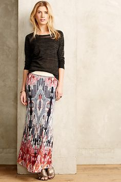Eka Maxi Skirt #anthropologie Such a great look but I'm not in love with those particular sandals. Love the neutral color palette with just a splash of color.