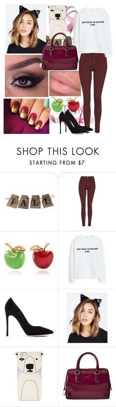 """""""7 X 15"""" by xitsmara ❤ liked on Polyvore featuring Topshop, Alison Lou, MANGO, Gianvito Rossi, Wet Seal, FOSSIL and Furla"""